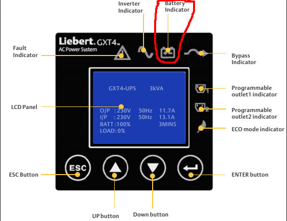 battery indicator in vertiv ups